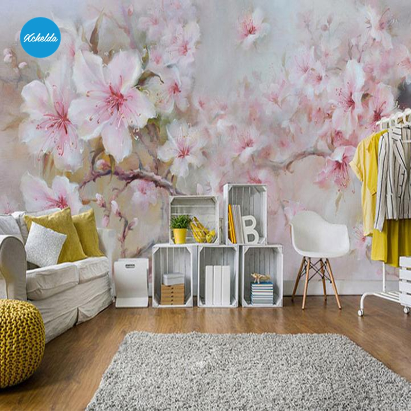 XCHELDA Custom 3D Wallpaper Design Oil Paint Peony Photo Kitchen Bedroom Living Room Wall Murals Papel De Parede Para Quarto xchelda custom modern luxury photo wall mural 3d wallpaper papel de parede living room tv backdrop wall paper of sakura photo