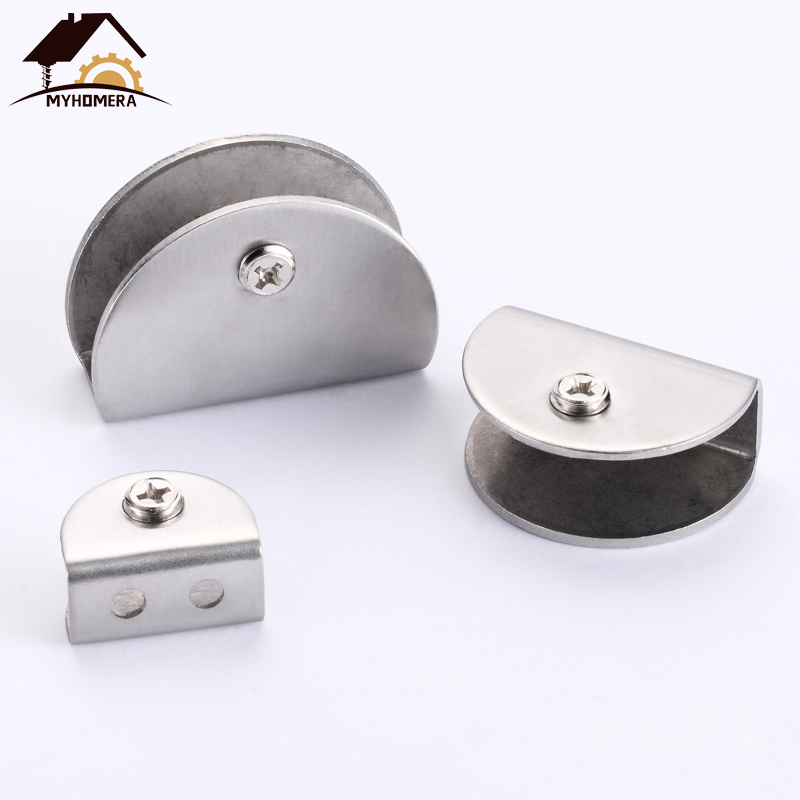 Myhomera 4Pcs Stainless Steel Glass Clamps Half Round Shelves Support Corner Bracket Glass Clips Adjustable Wall Mounted