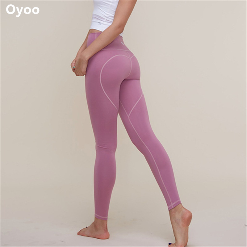 Oyo Heart shape booties gym leggings mid waist pink yoga pants sexy push up leggins sport women fitness cute sport tights stylish mid waist geometric pattern slimming leggings for women