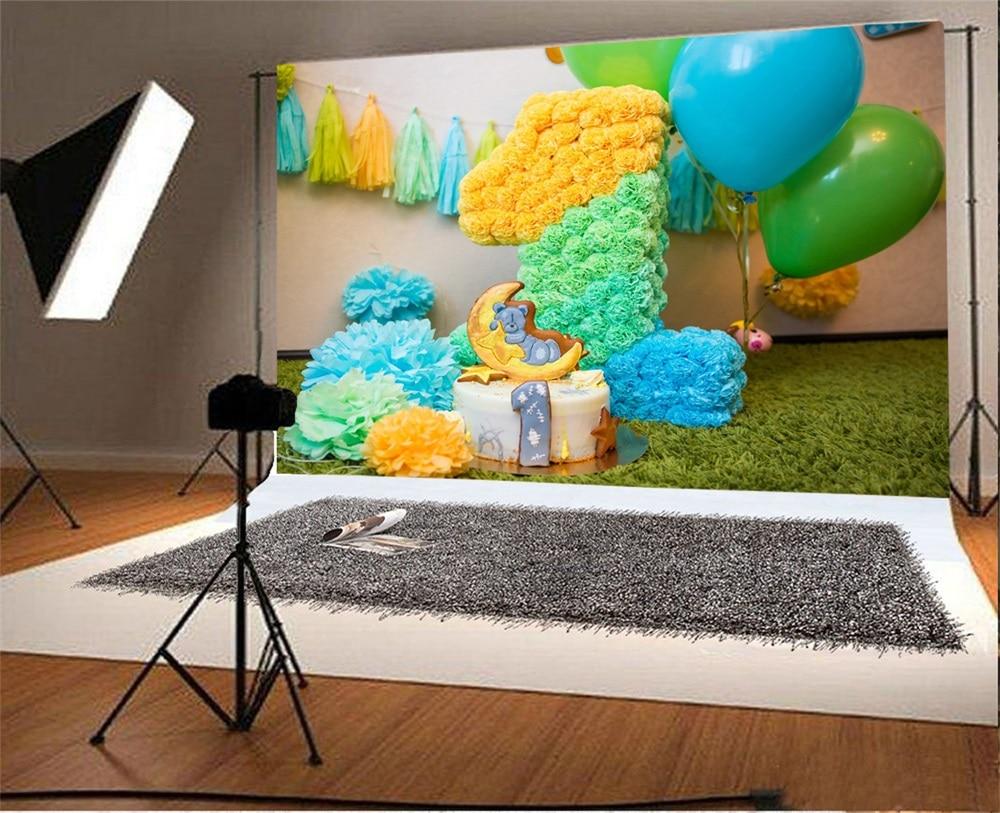 Laeacco Ballon Baby 1e verjaardagstaart Bloemendecor Deken - Camera en foto - Foto 2