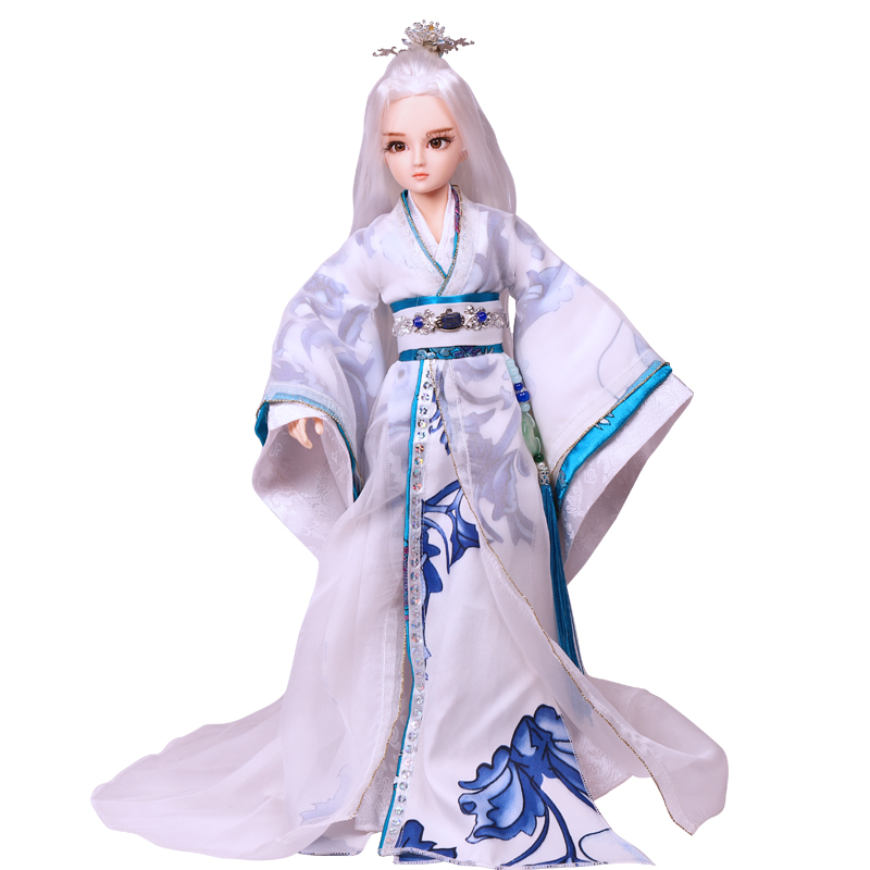 35CM Handmade 1/6 Bjd Chinese Doll Ancient Costume White Hair Man Doll 14 Jointed Boy Toys for Children Christmast Gift Bonecas black and coffee 2 colors hair tiara ancient chinese emperor or prince costume hair crown piece cosplay use for kids little boy