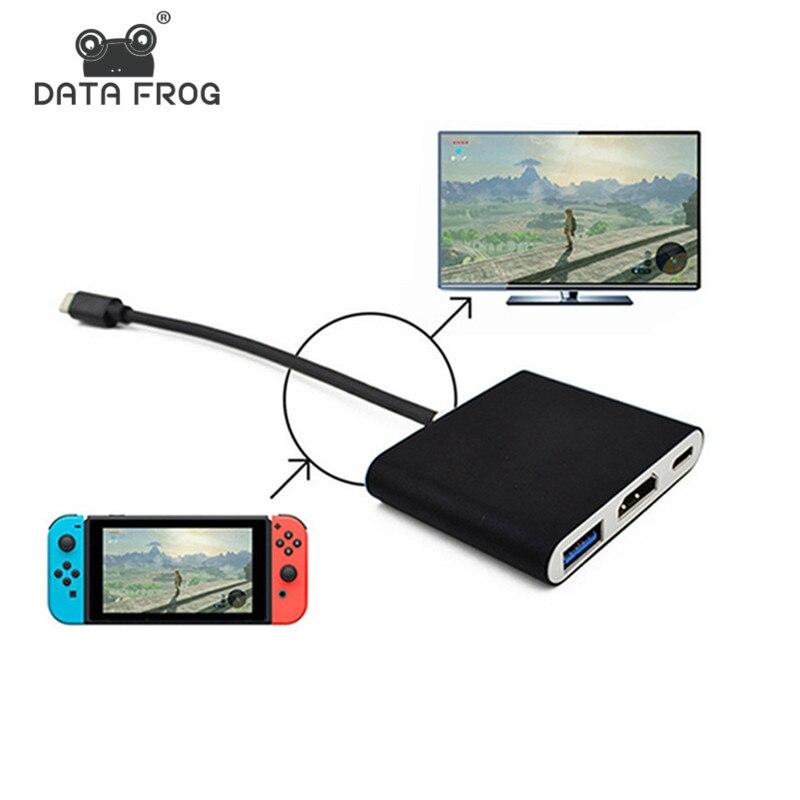 Daten Frosch HDMI Typ C Adapter Für Nintend Schalter Hub USB-C zu HDMI Mini Dock Station HD Transfer Für MacBook xiaomi Laptop Telefon