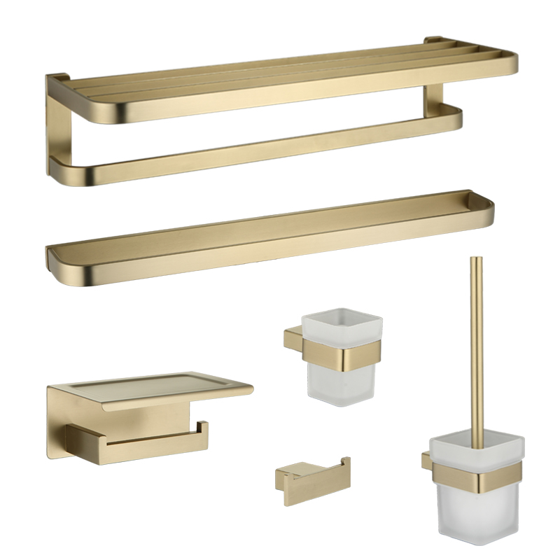 Auswind Matte Gold Towel Rack Bath Hardware Pendant Toothbrush Holder Metal 304 Stainless Steel Products Shower Bathroom Sets image