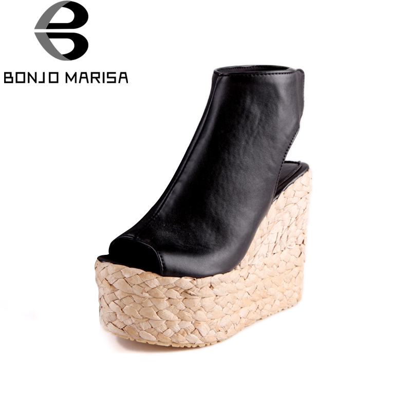 Big Size 34-43 Straw Wedge High Heel Sandals thick Platform Summer Shoes Woman Sexy Peep Toe Party Sandals BONJOMARISA bonjomarisa 2017 fashion summer sandles big size 32 43 cutout open toe thick heel less platform women shoes ladies footwear