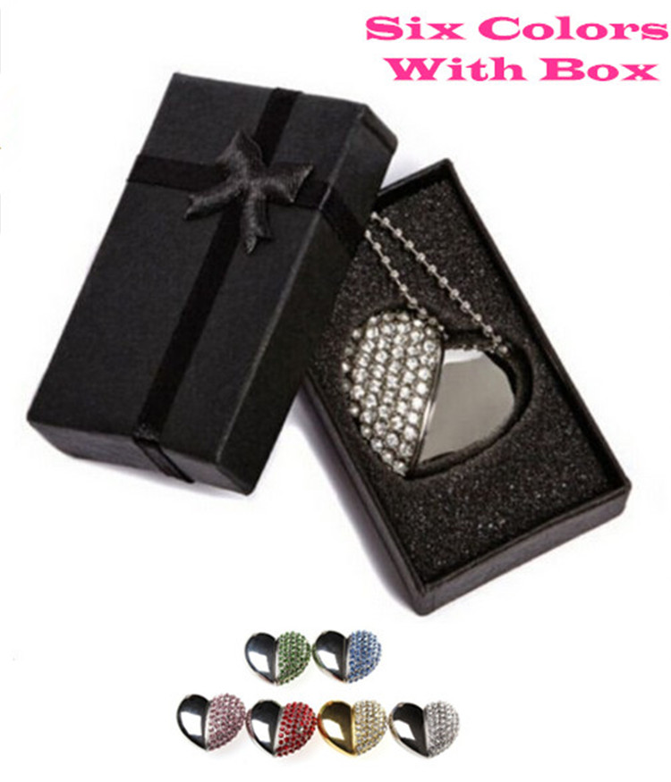 6 farger Metal hjerte pendrive 4 GB 8 GB 16 GB 32 GB 64 GB Diamond Heart USB 2.0 Flash Drive Memory Stick med en fin gaveeske