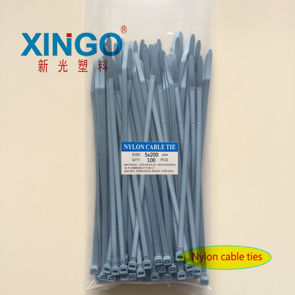 New 4.8 Width 100pcs/bag Gray Color 5X200MM National Self-Locking Nylon Wire Cable Zip Ties Cable Ties Organiser Fasten Cable