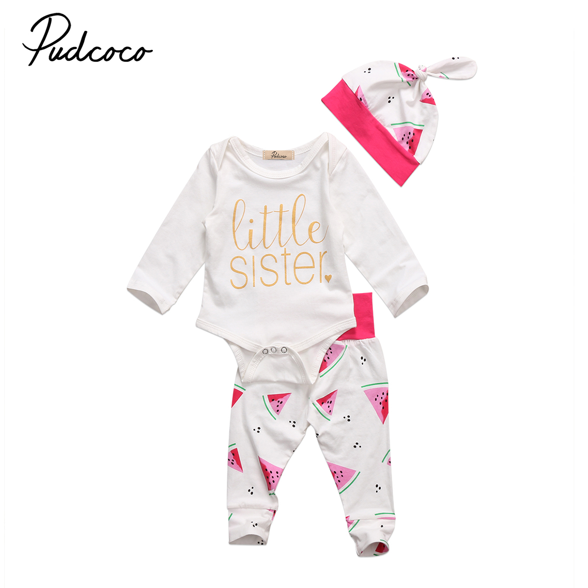 PUDCOCO Brand Clothes Set Cute Newborn Baby Girls Cotton Fashion Tops Romper Pants Hat 3Pcs Outfits Set Clothes 0-18M