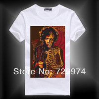 jimi hendrix half face and skull man vintage fashion t shirt