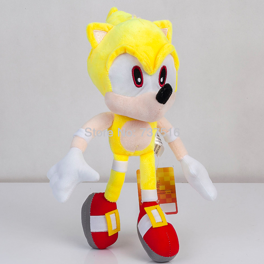 New Fly Yellow Super Sonic Plush Soft Doll Stuffed Animal Children Toys Kids 13 Inch Gift