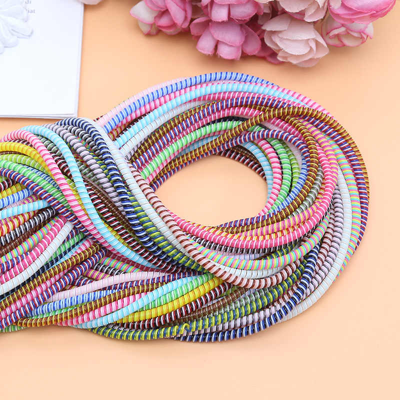1.5M Solid Colorful TPU Spiral USB Charger Cable Cord Protector Wrap Cable Winder for Iphone X XS Samsung Note 9 10 Data Cable