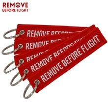 5 pçs remover antes do vôo porta-chaves do carro vermelho bordado aviação presentes chaveiro titular tag para motocicletas chaveiro