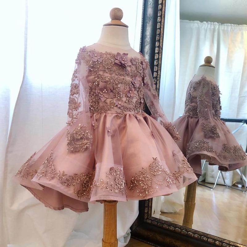 Best Discount Custom Made Ball Gown Flower Girls Dresses For Wedding O Neck Long Sleeve 3d Flower Ruffles Child Communion Dress May 2020