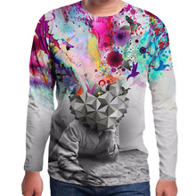 New Design 3D Fashion Print Brain Hole Wide Open Men's Clothing Men Long Sleeve O neck Pullovers Hoodies