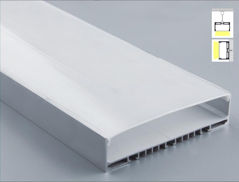 Free Shipping Super Wide U-Shape Aluminum Anodized Profile for LED Strips with Cover and End Caps for dual row LED strip