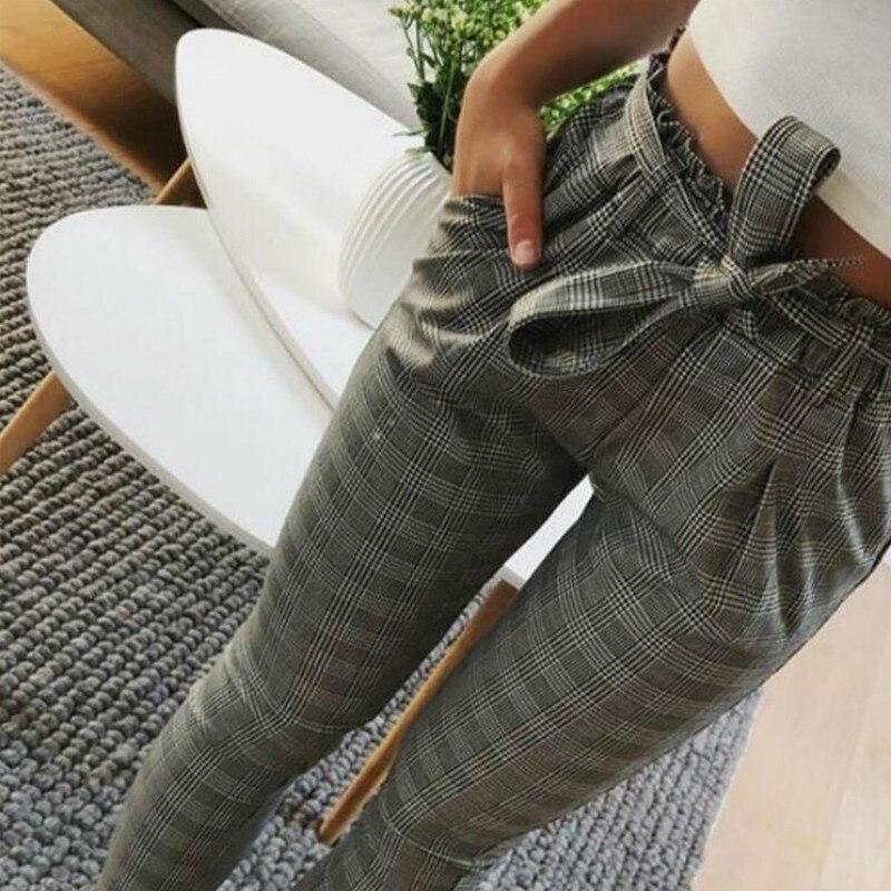 Fashion Summer Ankle Length Pants Women Lace Up Femme Plaid Sweatpants Casual Harem Pants Women Pencil Trousers Plus Size