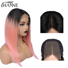 Brazilian 4*4 Lace Closure Wig 1B# Ombre Pink Straight Wigs Human Hair For Black Women 150% Density HANNE