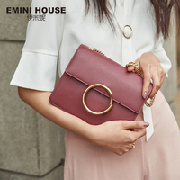 EMINI HOUSE Split Leather Crossbody Bags For Women 2018 Ring Decorate Chain Strap Square Shoulder Bag Female Cross body Bags