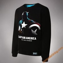 Wishining 2017 Captain America Sweatshirts Cool 3XL Large Size Men Black Luminous Hoodie