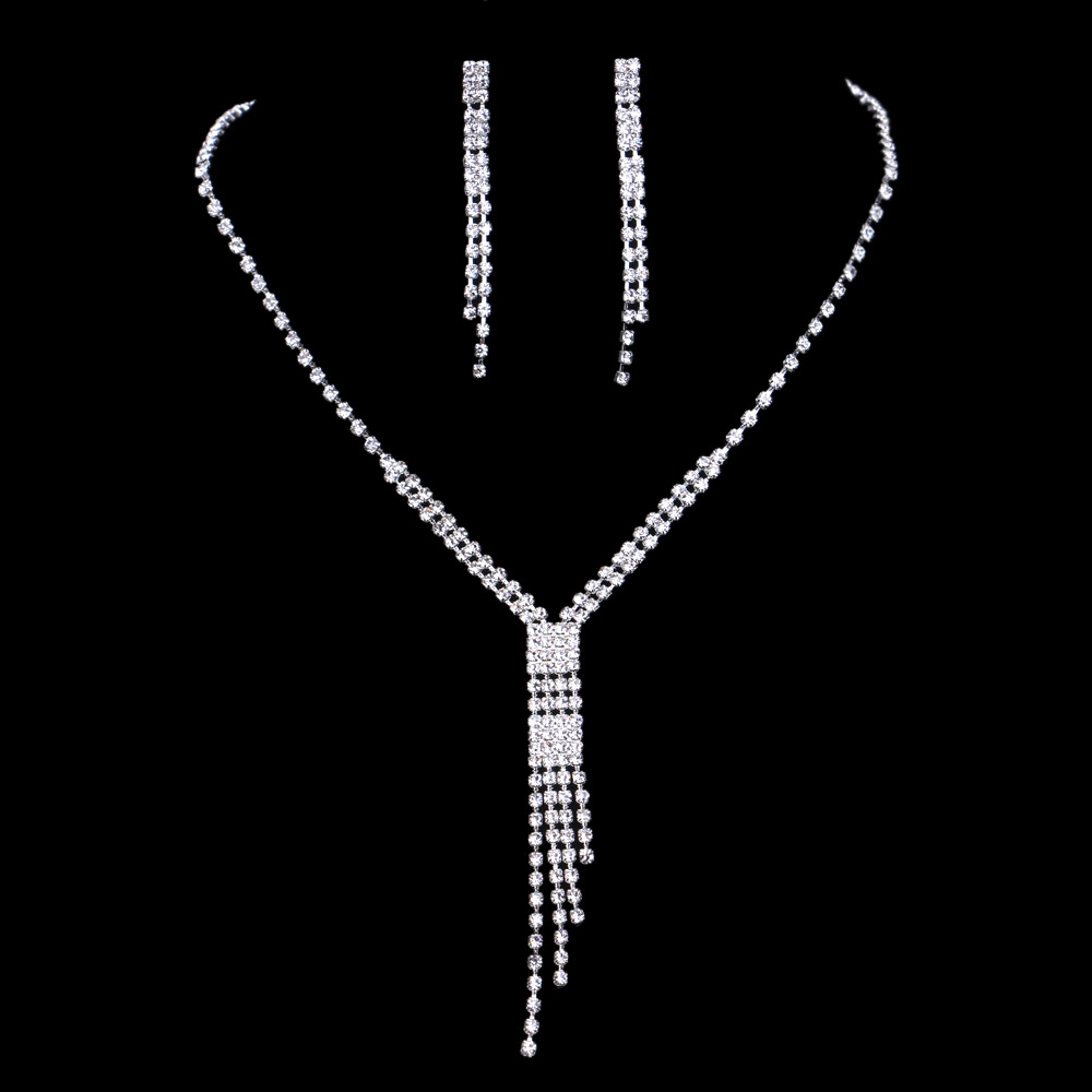 Wedding Jewellery Set For Women Rhinestones Tassel Necklace And Earrings Set  Bridal Jewelry Sets Fashion Accessories