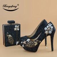 BaoYaFang Черный Кристалл Павлин Вечерние модельные туфли свадебные туфли женская обувь на высоком каблуке обувь на платформе женская модная о