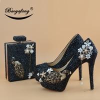 BaoYaFang Black crystal Peacock Party Dress Shoes Bridal Wedding shoes woman High heel platform shoes Ladies fashion shoe