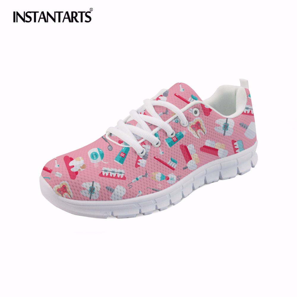 INSTANTARTS Fashion Women Flats Cute Cartoon Dental Equipment Pattern Pink Sneakers Woman Breathable Comfortable Mesh Flat Shoes instantarts cute glasses cat kitty print women flats shoes fashion comfortable mesh shoes casual spring sneakers for teens girls