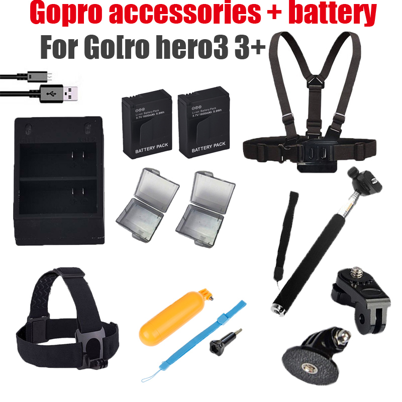 Prix pour Gopro hero3 Accessoires Manfrotto Trépied Bobber Poitrine Ceinture + double chargeur + 2x batterie Pour gopro Go pro hero 3 3 + noir Accessoires