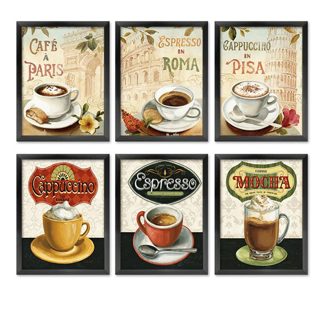 Cappuccino Espresso Creative Coffee Cafe Shop Wall Art ...