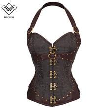 Brązowy Steampunk gorset gotycka odzież seksowna klamra ze skóry PU gorsety i gorsety odchudzanie płaszcza brzuch