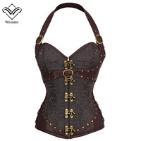 Brown Steampunk Corset Gothic Clothing Sexy PU leather Buckle Corsets And Bustiers Slimming Sheath Belly