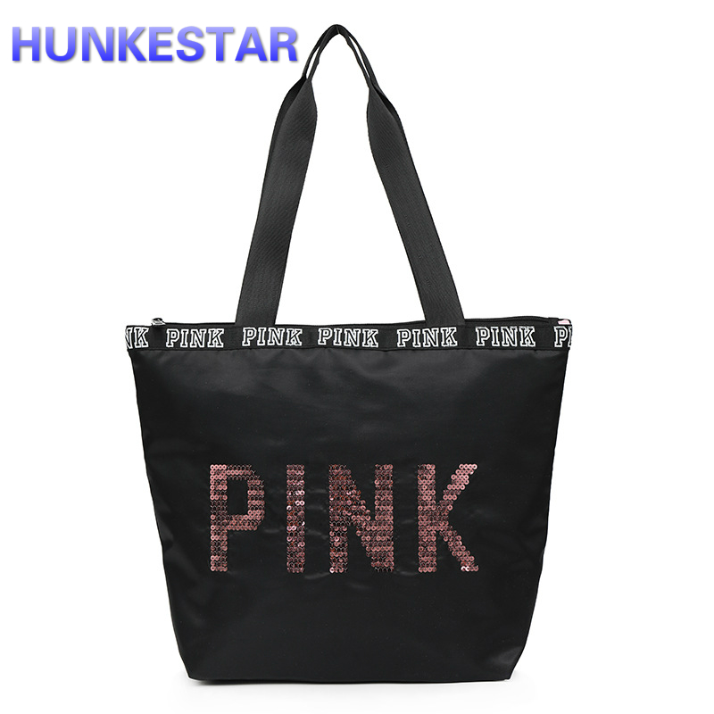 Black Blue GYM Bag Letters Print Portable Duffel Storage Women Fitness Shoulder Bag Female Travel Sport Yoga Trainning Bags