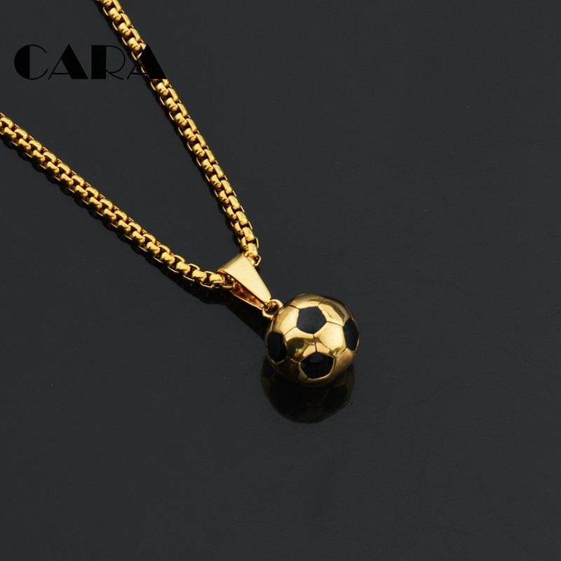 2019 New arrival Soccer Necklaces Men Jewelry Gold Color Stainless Steel  hip hop Fitness Football Sport 4f8fa977c9e8