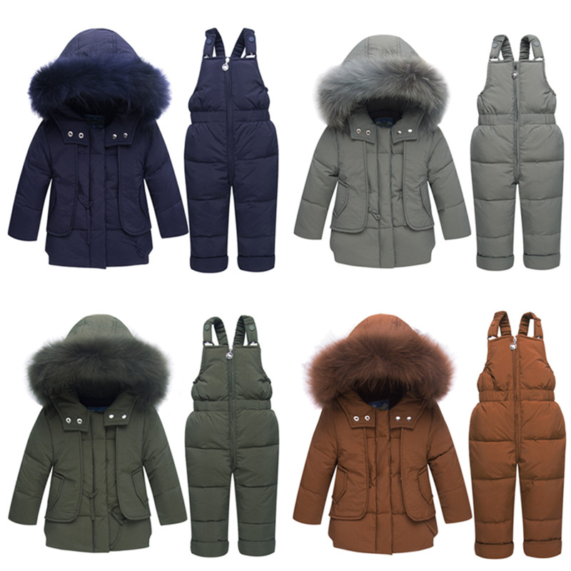 Children's Winter jackets -30 degrees Boys Coat Girls Ski Suit Baby Down Jacket+Pants Overalls Thick warm Kids clothes Snowsuit все цены