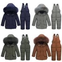 Children's Winter jackets 30 degrees Boys Coat Girls Ski Suit Baby Down Jacket+Pants Overalls Thick warm Kids clothes Snowsuit
