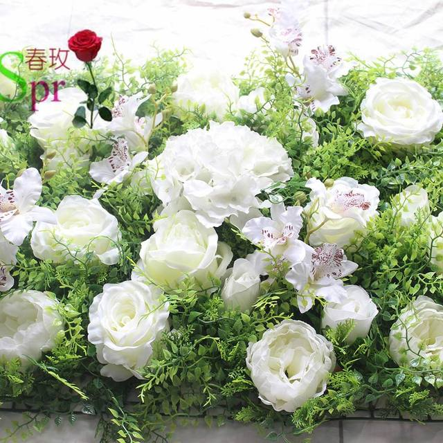 SPR Free Shipping 10pcs/lot Artificial rose peony &hydrangea flower wall wedding backdrop arch table flowe