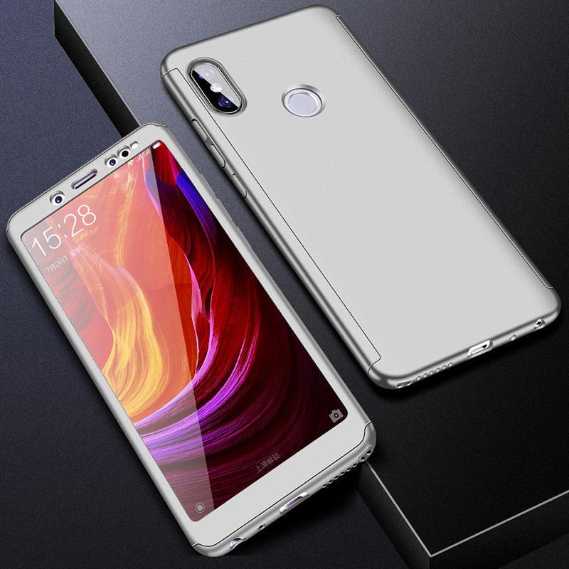 360 полный защитный чехол для телефона для Redmi Note7 note8 8A 7A для Xiaomi A3 Lite A2lite противоударный полный чехол s со стеклянной пленкой - Цвет: Серебристый