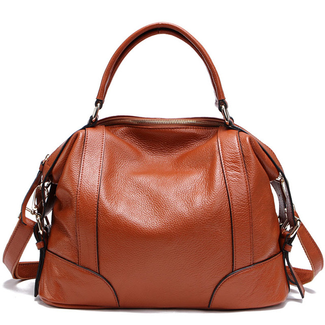 Classic 2014  women's casual genuine leather handbag shoulder bag women portable messenger bag red/blue/black/brown/beige/orange