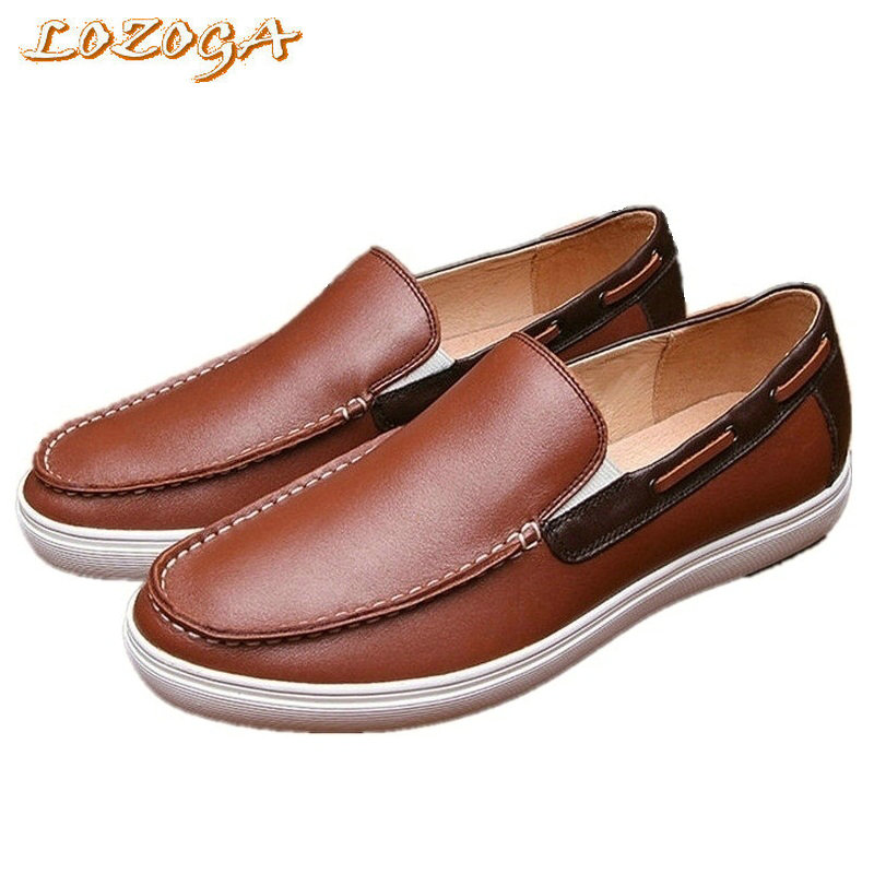 2017 New Men Shoes Genuine Leather Casual Shoes Brand Boat Shoes Slip-On Flats Loafers Spring Autumn Leisure Shoes Top Quality dxkzmcm new men flats cow genuine leather slip on casual shoes men loafers moccasins sapatos men oxfords