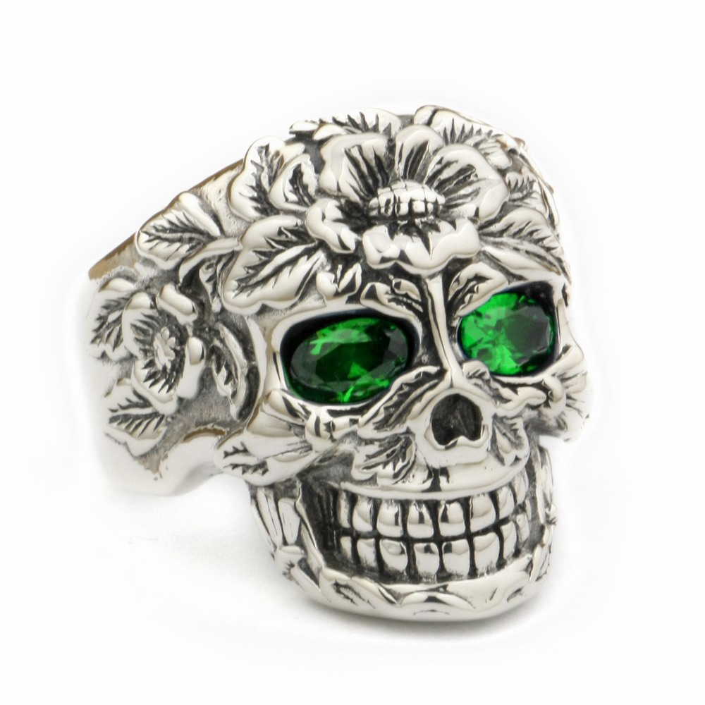 LINSION 925 Sterling Silver Flower Skull Ring Green CZ Eyes Mens Biker Rock Punk Style 9W305 US Size 7.5~15 green cz eye 925 sterling silver skull ring mens biker punk style 8v306a us 8 15