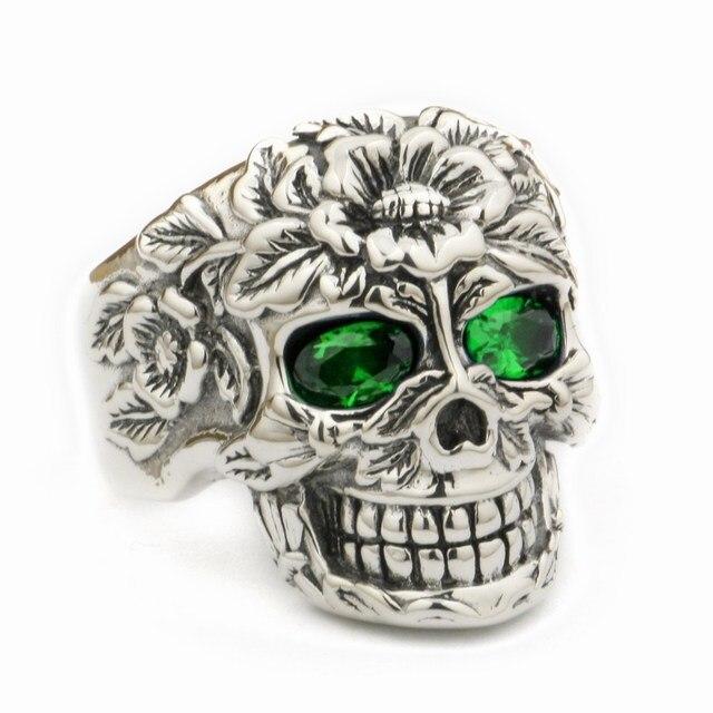 623b9bd9201f LINSION 925 Sterling Silver Flower Skull Ring Green CZ Eyes Mens Biker Rock  Punk Style 9W305