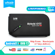 Hot Android 7.1 DVB T2 android tv box Quad Core DVB-T2 HD H.265/MPEG4 dvb-t2 tv tuner 4K Smart KII Set-top Box Media Player цена