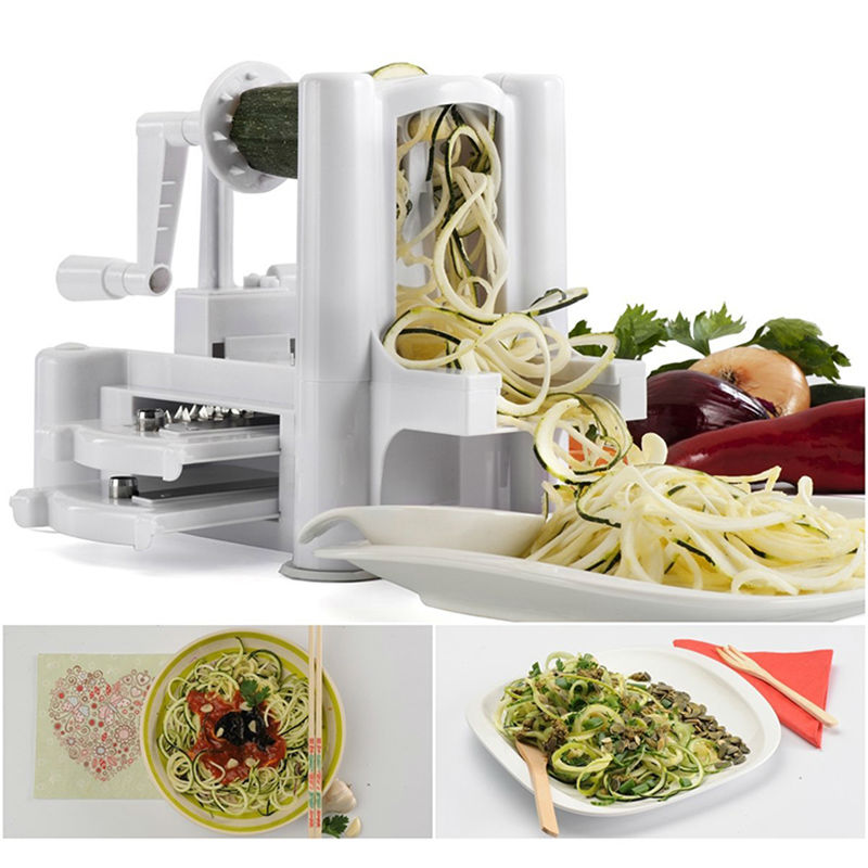 2016 New 3 in 1 Tri-Blade Vegetable Slicer Spiralizer Cutter Mandoline Chopper Cooking Tools Kitchen Knife Twister Peeler