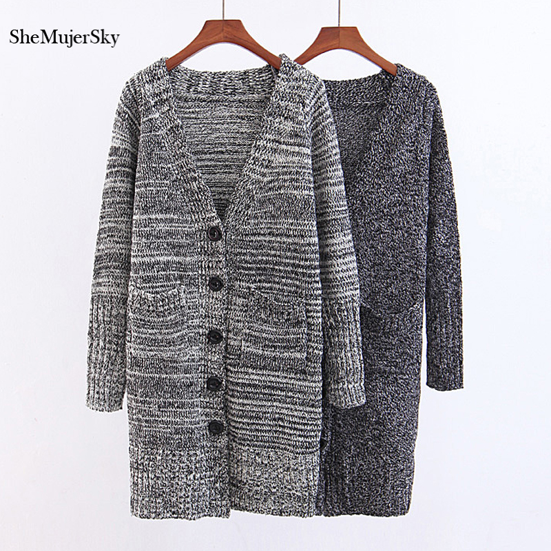SheMujerSky Cardigan Long Sweaters Single Breated Women Winter Preppy Style Knitted Cardigans sueter mujer