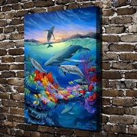 A0505 Sherry Vintson Sunset Reef Aquatic Animal .HD Canvas Print Home decoration Living Room bedroom Wall pictures Art painting