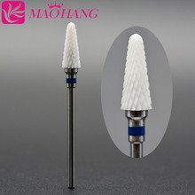 MAOHANG 1PCS Bullet Ceramic Nail Drill Bit Nail File 3/32 Cutter for Electric Manicure Machine Nail Art Tool Nail Drill Accesso 10pcs round grinding stone head nail drill bit 3 32 for electric manicure cutter machine dead skin nail file remove polish