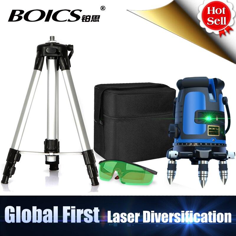 Livraison gratuite Vert laser laser multifonction croix ligne rotation auto-nivellement vert laser niveau 360 degrés 5 ligne 4V1H 6 points
