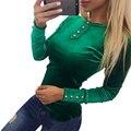 Недавно 2017 Бархат Блузки Рубашки женская Весна Осень Рубашки Топы Бархат Топ Blusas С Длинным Рукавом Твердые Кнопка Женщины Топы GV508