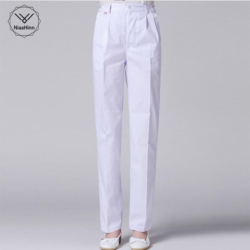 Medical Female Nurse Pants Slim White Pants Hospital Pet Hospital Dental Pharmacy Scrub Pants Beauty Salon Medical Work Pants