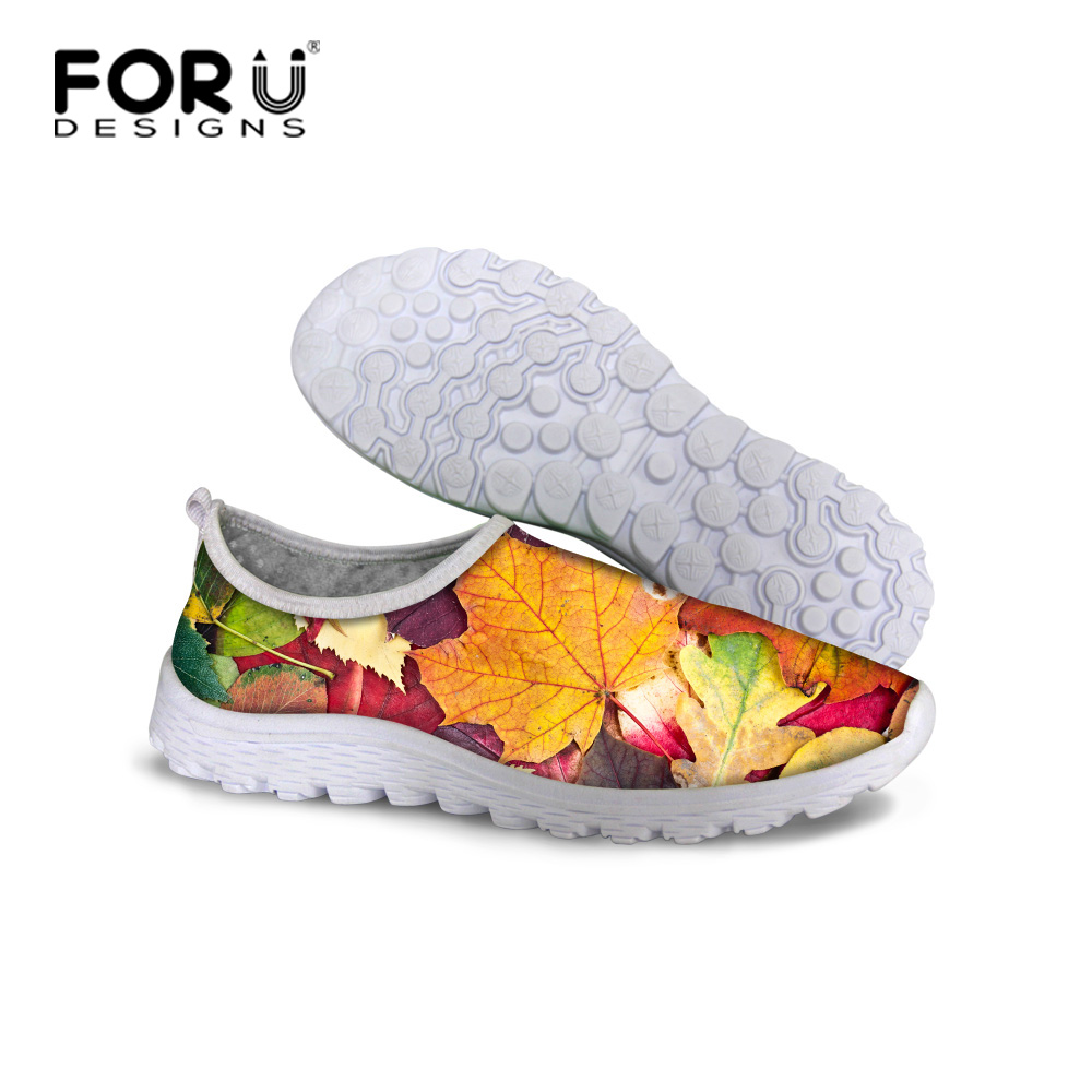 FORUDESIGNS High 3D Maple Leaf Shoes for Women Casual Flats Women Walking Shoes Leisure Mesh Breathable Loafer Shoes