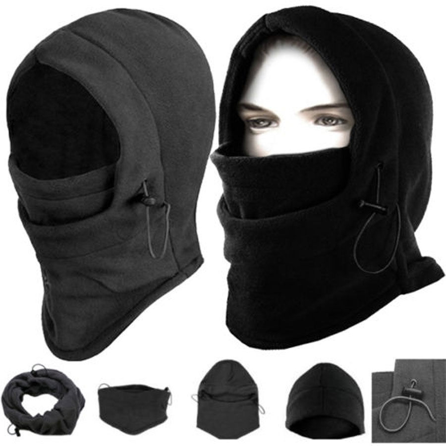 Лидер продаж, Мужская армейская маска для лица и лыж, Флисовая Шапка-бини, вязаная шапка, шапки, утепленные, ветрозащитные, теплые, черные, зи...